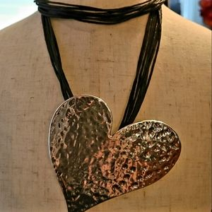 Large Silver Hammered Heart Necklace